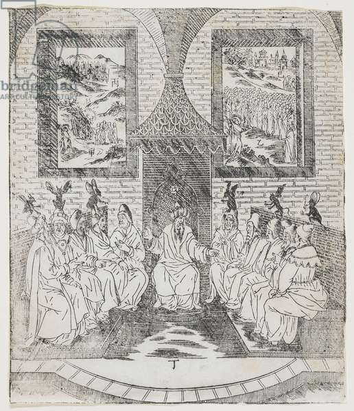 """Caiaphas and the Council of Elders, plate from Giulio Aleni's """"Tianzhu jiangsheng zhuxiang jingjie"""" (An Illustrated History of the Lord of Heaven Who Became Incarnate in the Flesh), Jinjiang Church, Fujian Province, China, 1637 (woodblock print)"""