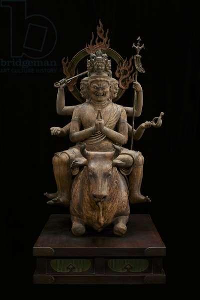 Wisdom King of Awe-inspiring Power (Daiitoku Myōō) (polychromed wood with crystal, gold-leaf and metal)