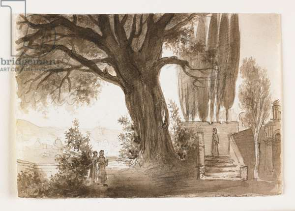 Italian Landscape with Oak Tree, early 19th century (pen & brown ink & wash over chalk)