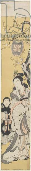 Xiwangmu (Queen Mather of the West) and Attendant, c.1764 (colour woodblock print)