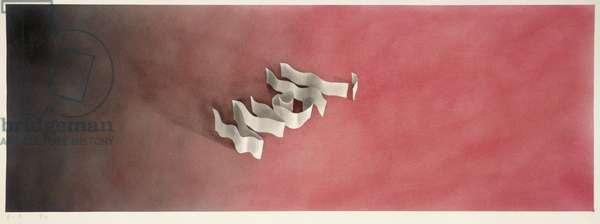 Well, 1971 (gunpowder & pastel on paper)