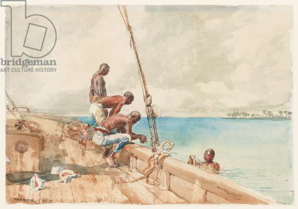 The Conch Divers, 1885 (w/c over graphite on paper)