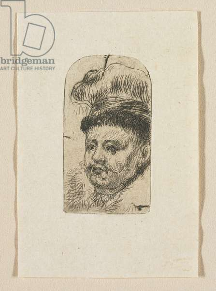 Head of a Man with a Curled Moustache and Hat, 1774-1789