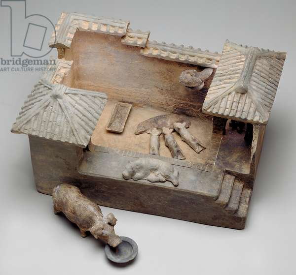 Funerary model of a pig sty (earthenware)