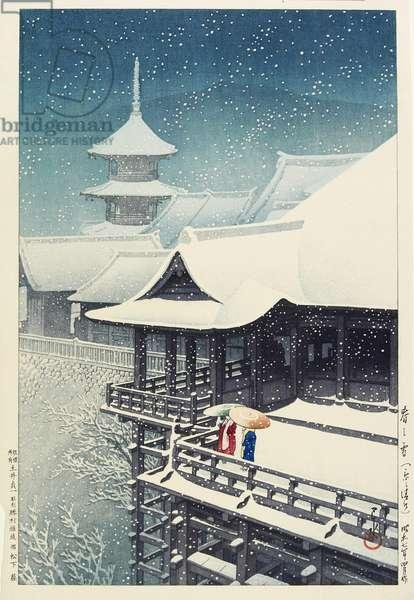 Spring Snow at Kiyomizu Temple in Kyo_o, April 1932