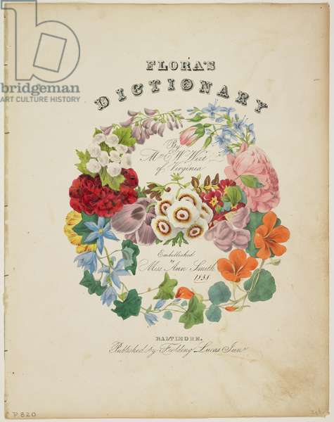 Frontispiece and Title Page, Wreath of Flowers, from Flora's Dictionary, 1838 (colour litho)