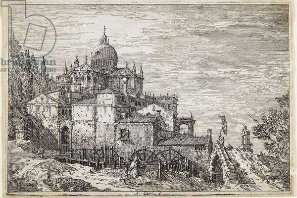 Landscape with a Church, Houses and a Mill