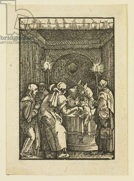 The High Priest Refusing the Offering of Joachim (woodcut)