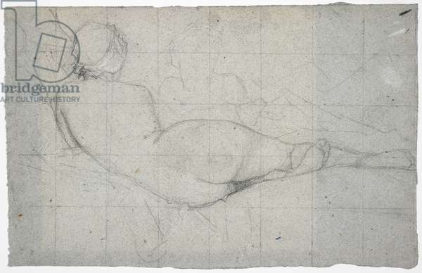 Recumbent Female Nude and Partial Study of a Second Female Figure, c.1855-60 (black & white chalk on blue-grey laid paper)