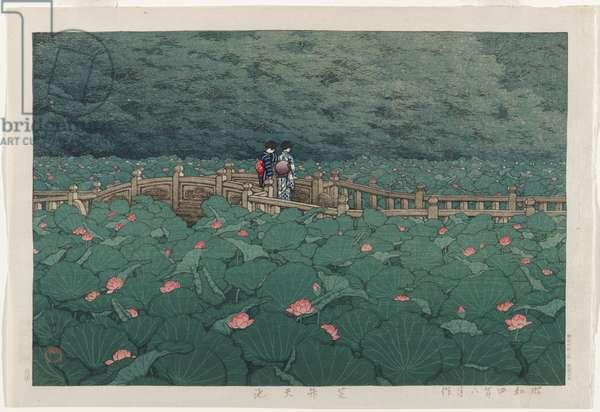 Benten Pond at Shiba, August 1929 (colour woodblock print)