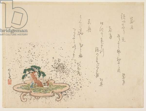"Diorama on the theme of ""Takasago"" (colour woodblock print)"