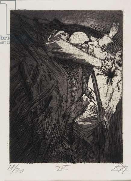 Überfall einer Schleichpatrouille (Suprise Attack of a Reconnoitering Patrol), plate 44 from Der Krieg (The War), 1924
