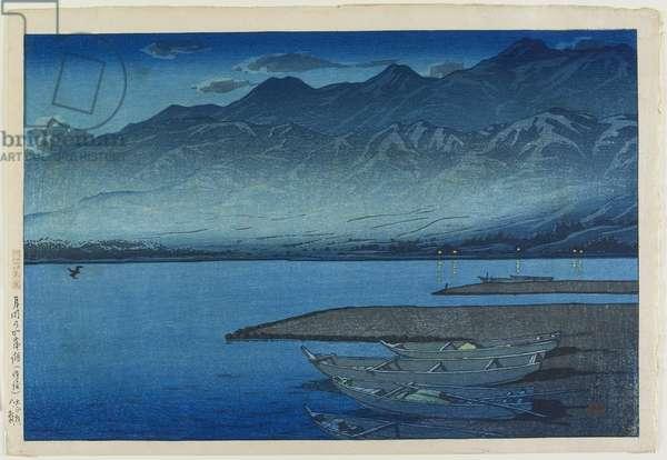 Lake Kamo under Moonlight in Sado Island, August 1921