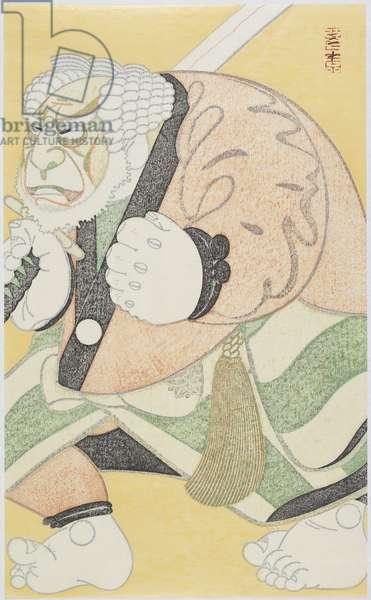 Actor Ichikawa Danshirō IV as the Ferryman Tonbei, January 1988 (colour woodblock print)