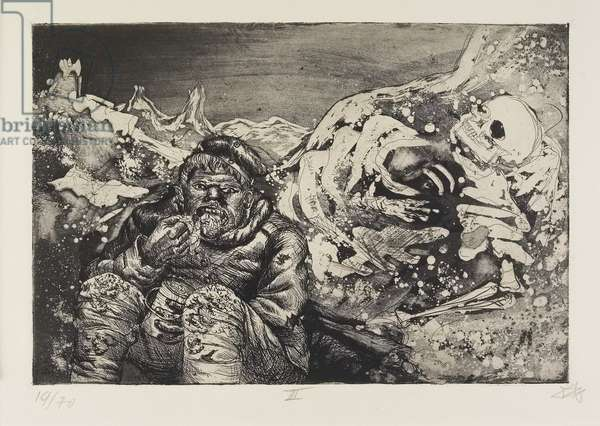 Mahlzeit in der Sappe (Lorettohöhe) (Mealtime in the Trenches [Loretto Heights]), plate 13 from Der Krieg (The War), 1924