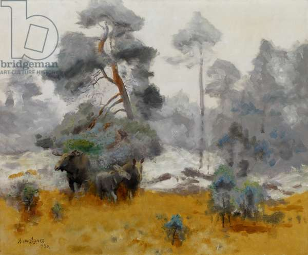 Moose Family Entering a Clearing, 1930 (oil on canvas)