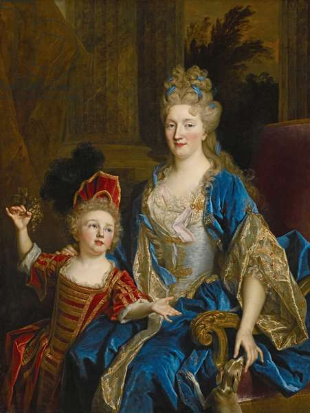 Portrait of Catherine Coustard, Marquise of Castelnau, with her Son Leonor, c.1699 (oil on canvas)