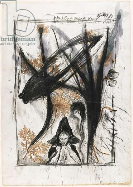 Die Hölle brennt kalt (Hell Burns Cold) 1984 (oil pastel, black crayon, graphite & w/c on a nature-printed engraving in sepia ink)