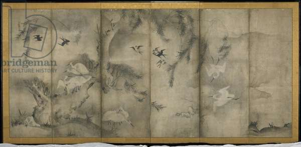 Willow, Egrets in Plum and Willow, Six-panel folding screen (ink on paper)