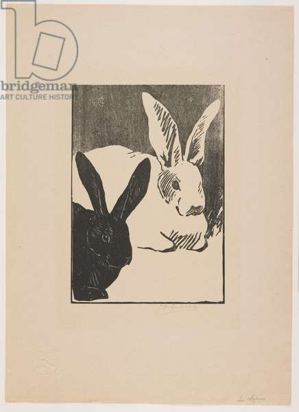 Les Lapins (Rabbits), 1891 (published 1893) (woodcut on buff paper)