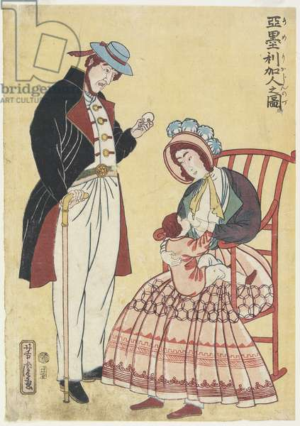 Portrait of an American Family, 1861 (colour woodblock print)