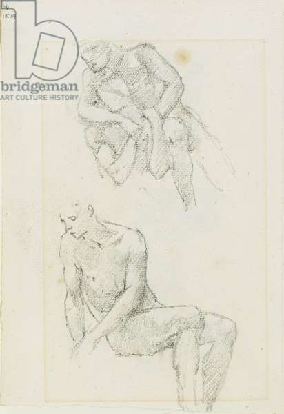 Studies of Male Figures (recto and verso), Pages 3 and 4 from a book of studies, c. 1880-1890