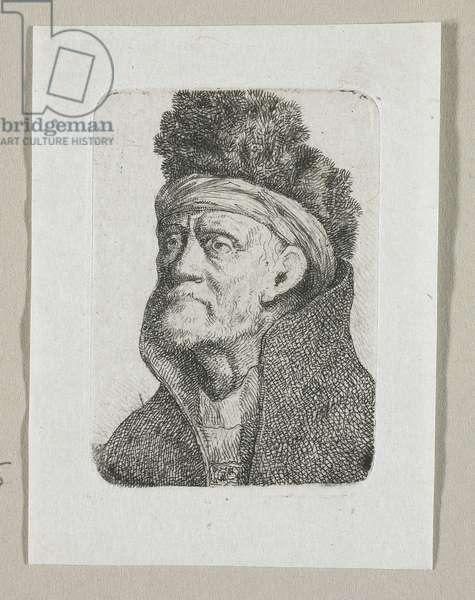 Head of an Old Bearded Man with Bushy Fur Cap and Bandana, 1774-1789