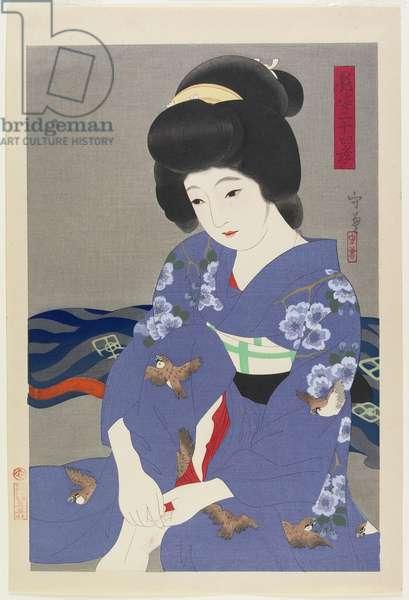 Taking Off Her Socks, 1930 (colour woodblock print)