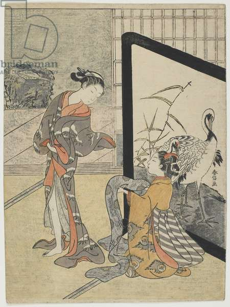 Getting Dressed, 1765-69 (colour woodblock print)