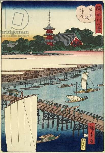 Returning Sails at Azuma Bridge, November 1861