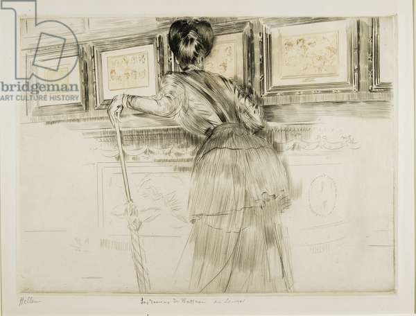 Woman Looking at Watteau Drawings in the Louvre, c. 1895
