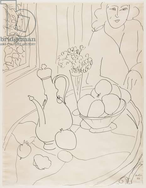 Woman with Still Life, 1944 (pen & ink on paper)