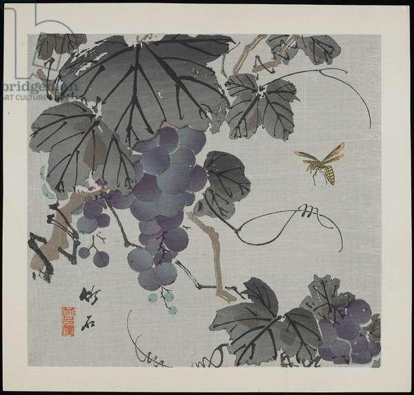 Grapes, c.1900 (colour woodblock print)