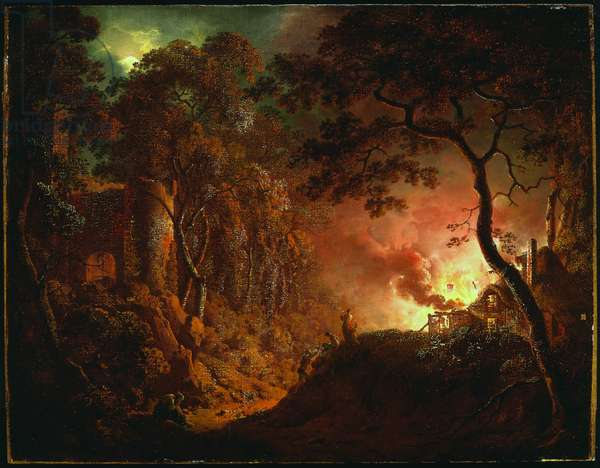Cottage on Fire, c.1786-87 (oil on canvas)