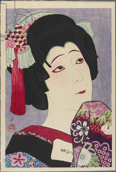 Actor Nakamura Fukusuke V playing the role of Ohan, 1928 (colour woodblock print)