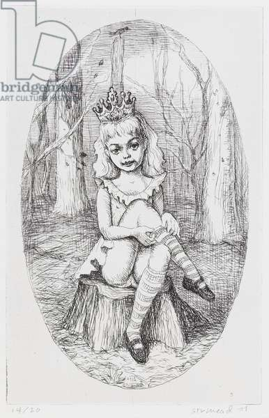 Girl with Crown, 2001 (etching)
