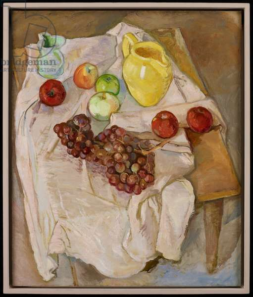 Untitled (yellow pitcher, apples and grapes), c.1939-55 (oil on canvas)