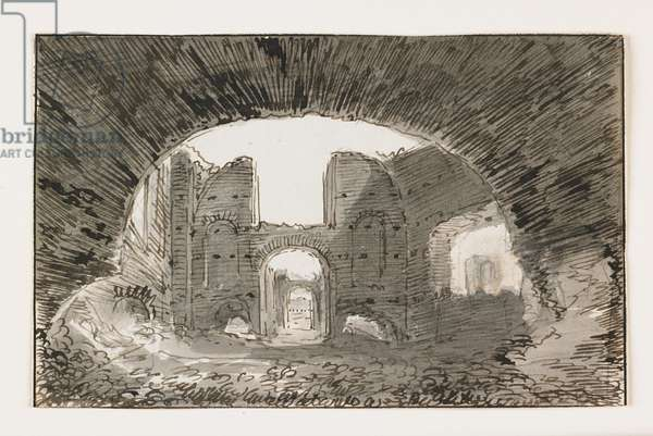 Sketch of the Baths of Caracalla, early 19th century (pen & brown ink with gray wash over black chalk)