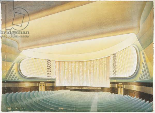 Interior Design for a Moderne Cinema (w/c with gouache over graphite on paper)