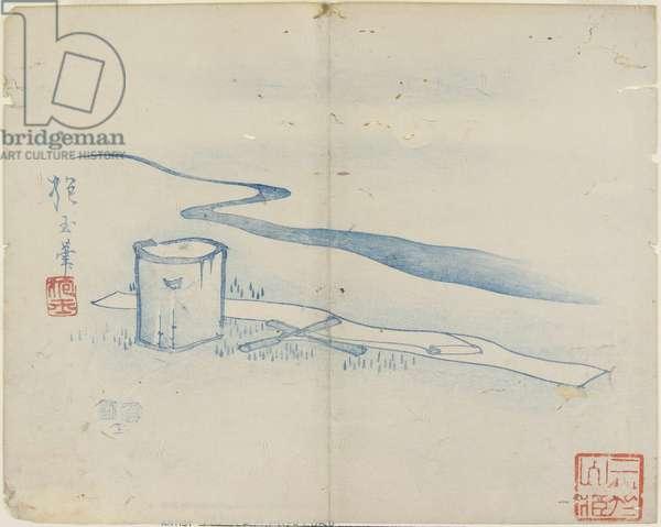 (Pounding Silk by Tamagawa River), 1841
