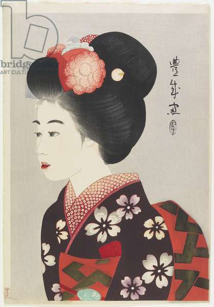 Maiko Girl, 1924 (colour woodblock print)