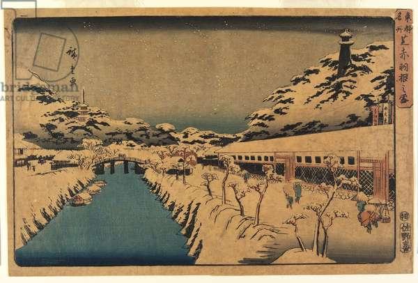 Snow at Akabane Bridge in Shiba, 1844-45 (colour woodblock print)