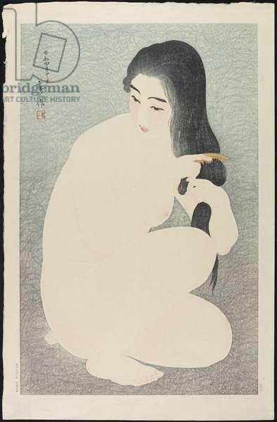 Combing Hair, October 1929 (colour woodblock print)