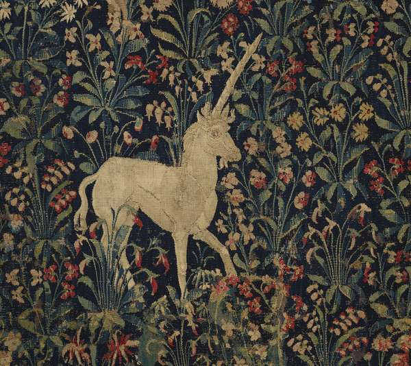 "Allegorical ""Millefleurs"" tapestry with animals, 1530–45 (wool & silk)"