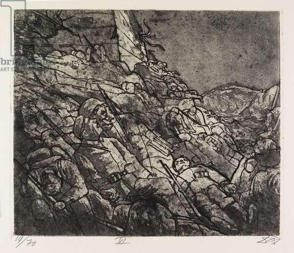 Die Schlafenden von Fort Vaux (Gas-Tote) (The Sleepers of Fort Vaux [Death by Gas]), plate 46 from Der Krieg (The War), 1924