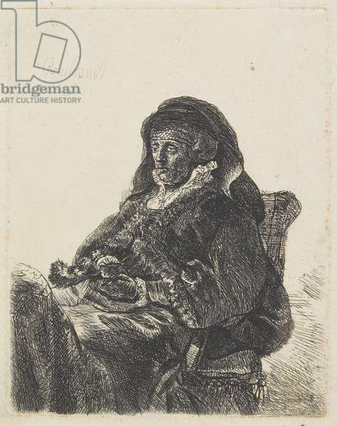 Rembrandt's Mother in Widow's Dress and Black Gloves, c.1632-35 (etching)