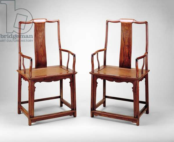 Armchairs with continuous yoke backs, c.1600 (wood)