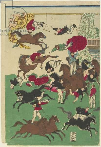 Circus Stunts, 19th century (colour woodblock print)