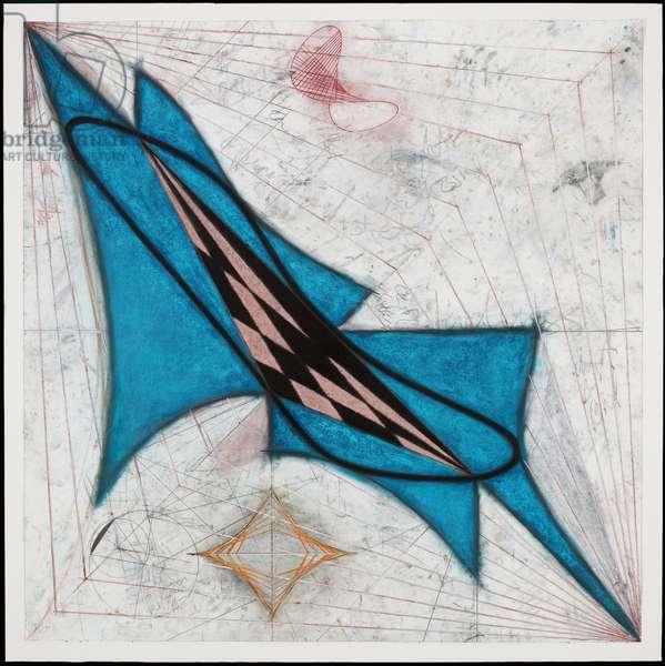 Zwischen Punkte (Between Points), 1985 (charcoal, chalk & graphite on paper)
