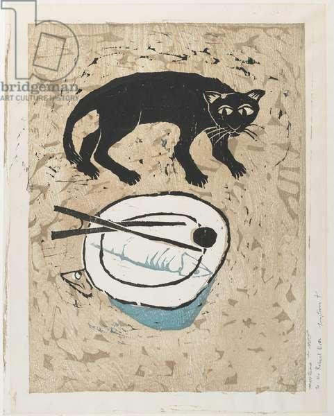 (Black Cat and Fish), 1965 (colour woodblock print)